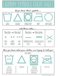 PRINTABLE - How To Read The Laundry Symbols On Your Clothing Tags!