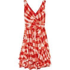 Oscar de la Renta Printed silk-chiffon dress (€1.205) ❤ liked on Polyvore featuring dresses, vestidos, oscar de la renta, red, knee length, draped dress, red dress, red layered dress and oscar de la renta dresses