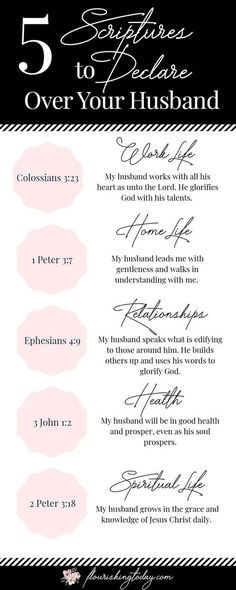 5 Prayers and Declarations for Your Husband 5 Prayers and Declarations for Your Husband - Flourishing Today<br> Do you find it difficult to pray for your husband? Here you'll find some sample prayers for your husband to help him to succeed in 5 key areas. Marriage Scripture, Marriage Prayer, Godly Marriage, Prayer Scriptures, Marriage Life, Happy Marriage, Love And Marriage, Godly Wife, Relationship Tips