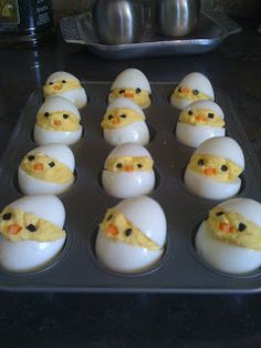 Baby chick deviled eggs, cute!