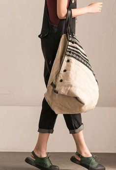 Art Canvas Leather Triangle Backpack Casual Handbag D3859B