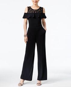 INC International Concepts Petite Lace Cold-Shoulder Jumpsuit, Created for Macy's | macys.com