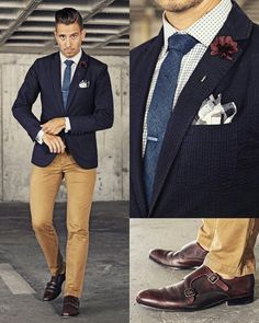 whatmyboyfriendwore via menstylica: This what being REALLY late for work looks like! 😳⌚️ Blazer from Shirt from Tie by Tie clip by Lapel flower by Pants from Look Fashion, Mens Fashion, Fashion Outfits, Terno Slim Fit, Stylish Men, Men Casual, Blazer Outfits Men, Chinos And Blazer Men, Blue Blazer Outfit Men