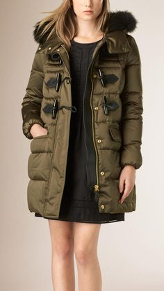 $1,695, Burberry Fox Fur Trim Down Filled Duffle Coat. Sold by Burberry. Click for more info: https://lookastic.com/women/shop_items/367610/redirect