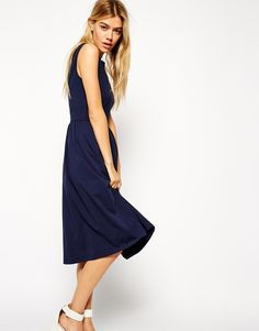 ASOS Sleeveless Midi Skater Dress with Wrap Back