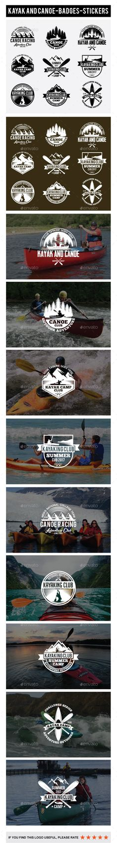 Kayak and Canoe Badges, Stickers - Templates Vector EPS, AI Illustrator