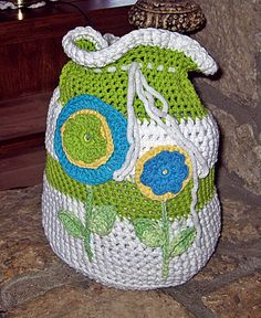 Hand crocheted for a little toddler.  He/she can pretend to go to school with his/her brothers and sisters.  How fun!  #crochet #crochet_backpack #backpack