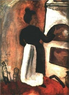 Mother by the oven, Marc Chagall Medium: oil on canvas Marc Chagall, Henri Matisse, Folklore Russe, Chagall Paintings, Art Database, Art Moderne, Pablo Picasso, Kandinsky, French Artists
