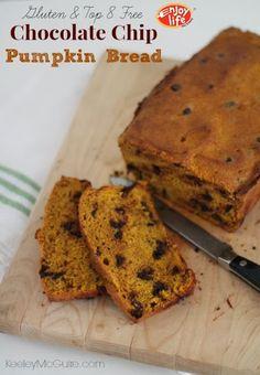 Gluten Free & Top 8 Allergy Free  Chocolate Chip Pumpkin Bread Recipe #EatFreely