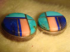VTG. OLD PAWN ZUNI STERLING SILVER TURQUOISE LAPIS & SPINY OYSTER INLAY EARRINGS