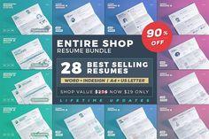 G R O W Entire Shop - Resume/Cv Bundle  by TheResumeCreator on @creativemarket