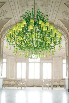 Lustre cristal couleur verte - Masiero, spécialiste du lustre en cristal et de la lampe en verre de murano - Réf. 11110510