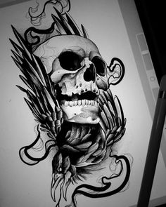 Sketch for tattoo in the form of a skull tattoo sketches, tattoo drawings. Tatto Skull, Skull Tattoo Flowers, Skull Rose Tattoos, Skull Tattoo Design, Skull Art, Body Art Tattoos, Sleeve Tattoos, Tattoo Designs, Sketch Tattoo Design