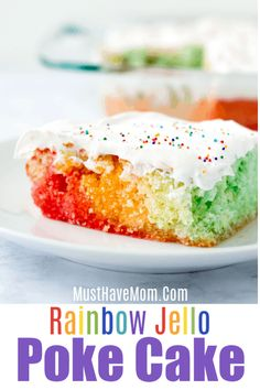 This rainbow jello poke cake recipe is a classic recipe that makes for a light dessert and awesome rainbow party food. Poke Cake Jello, Poke Cake Recipes, Poke Cakes, Best Dessert Recipes, Delicious Desserts, Easter Jello Poke Cake Recipe, Dessert Ideas, Cake Ideas, Holiday Recipes