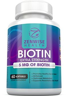 Biotin Softgels With 5000 MCG  Vitamin B7 for Hair Growth  Healthy Skin  Nails  Premium Extra Strength BComplex Supplement  For Maximum Energy  Metabolism  60 Count  Zenwise Health ** Visit the image link more details.  This link participates in Amazon Service LLC Associates Program, a program designed to let participant earn advertising fees by advertising and linking to Amazon.com.