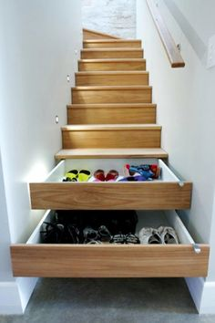 Under stair storage ideas - pull out drawers under stairs #gettingorganized