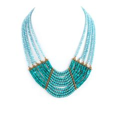 Beautiful mix jewel and turquoise bib necklace. Available in one color: aquamarine - Lobster claw clasp with 3'' extender - Lead /Nickel compliant Our fashion jewelry is comprised of quality base meta