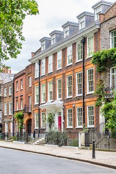 Elegant brick houses in Richmond, London. Click through for more pictures on the A Lady in London blog.   #houses #richmond #london