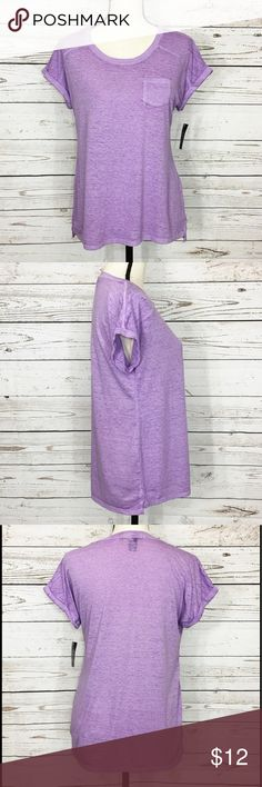"Style & Co Burnout Stretch T-Shirt Comfortable and super soft light purple/lavender heathered, loose, stretchy t-shirt with rolled cuffs and a pocket. Bust: (XS-40"")(M-42""); length in the back from the shoulder to the bottom hem: (XS-25 1/2"")(M-26""). Measurements are approximate. Smoke free home. 🌺Thanks for shopping my closet 😊🌺 Style & Co Tops Tees - Short Sleeve"