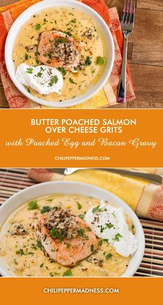 Butter Poached Salmon Over Cheesy Grits with Poached Egg and Bacon Gravy   ChiliPepperMadness.com