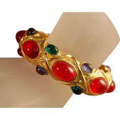 Vintage KJL (Kenneth J Lane) Jewel Tone Glass Cabachon Magnificent Bangle Bracelet