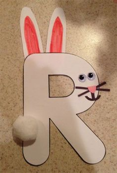 Letter R rabbit craft. Teaching resource. Easter idea