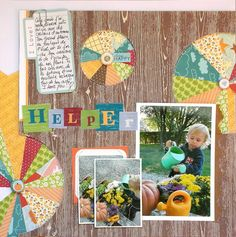Love how Sophie stitched these circles Love all the banners and layering in her layout using the Scrapbook Circle Harvest Festival kit