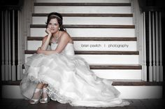 on stairs bridal