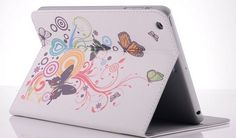 ipad mini pu leather case Butterfly and Flowers PU Leather Case Cover with Stand and Card Slot for iPad Mini 1 2 - Leather Flip iPad Mini Cases - iPad Mini Case