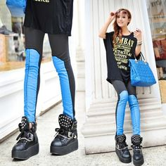 Korean New Women's Sexy Faux Leather Splicing Leggings Tights Pants