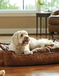 Scratch, dirt and shed resistant, the Faux Leather Pet Bed is a luxuriously comfortable place for your pampered pet to relax without sacrificing your home's style.