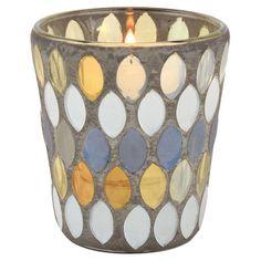 "Kesara Votive Holder  Mosaic glass votive holder.    3"" H x 2.75"" Diameter  Joss & Main  $19.90"