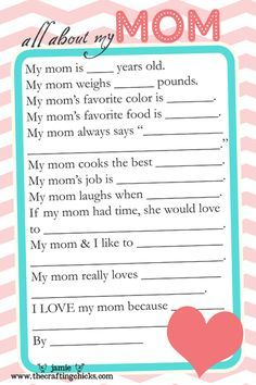 Mother S Day Printables Kindergarten – Mothers Day Crafts Cards Activities And Worksheets. Could leave some of the questions off.weight, really? Diy Mothers Day Gifts, Fathers Day Crafts, Happy Mothers, Cadeau Parents, Mother's Day Activities, Dad Day, Thinking Day, Mother's Day Diy, Grandparents Day