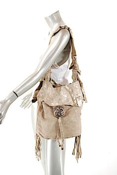 JEN MASCALI Handcrafter Suede Drawstring Satchel in Taupe with Gold Soft  Suede 56fc1020b7f32