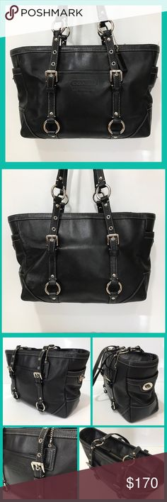 """Coach Leather Gallery East/ West Tote Black leather coach Tote purse with silver hardware. Exterior has a front slip pocket and side lock pockets. Zip closure with a strap drop of 10.5"""". Interior has black lining with 3 pockets(1 zips). Great used condition! #L1020 F12343. Coach Bags Totes"""