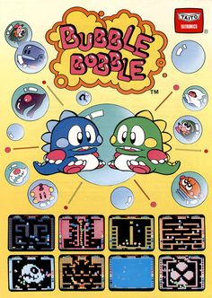 Classic Ads: Bubble Bobble (1986)  Bubble Bobble (バブルボブル) is an arcade game by Taito, first released in 1986 and later ported to numerous home computers and game consoles. The game, starring the twin Bubble Dragons Bub (Bubblun) and Bob (Bobblun), is an action-platform game in which players travel through one hundred different stages, blowing and bursting bubbles, avoiding enemies and collecting a variety of items. [Wiki]  Scan via:The Moog