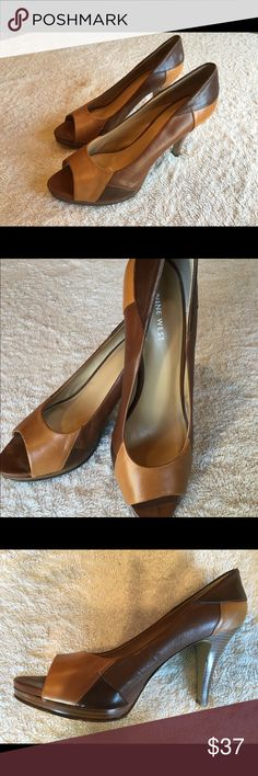 """Gorgeous Peep-Toe Brown Heels Gorgeous 4"""" brown """"patchwork"""" peep-toe heels that have been worn only once.... When I figured out my feet had grown wider than than normal... 😊Great for work, date night and even with jeans! Nine West Shoes Heels"""