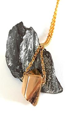 Bronze Carved Crystal Shape Pendant Necklace