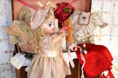 """Bright Eyed Depose Tete Jumeau """"Sarah Anne"""" with Trunk and Large Wardrobe - Mostly Antique"""