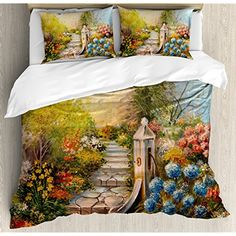 Flower Duvet Cover Set By Ambesonne, Opium Poppy Field And Beautiful Yard  Sunset Over The