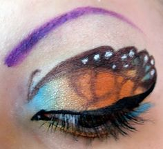 Monarch butterfly eye with purple eyebrow.that's funky! Butterfly Makeup, Butterfly Eyes, Monarch Butterfly, Eye Makeup, Hair Makeup, Hidden Images, Beauty Junkie, Cosmetology, Face And Body