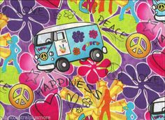 Psychedelic Flower Power Peace Love Van Hearts Print on Cotton Fabric 1yd 34"