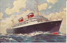 UNITED STATES LINES' AMERICA STEAMSHIP POSTCARD
