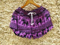 Purple Shorts Elephants Print design Boho by TribalSpiritShop