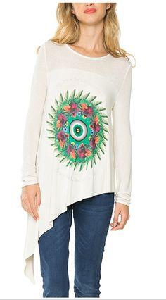 #Desigual Shirt - Modell Budapest, Muster: floral, exotisch und Mandala, weiß. Asymmetrischer Schnitt.
