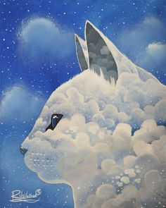""""""" ANGEL CAT """" Original Painting by Raphaël Vavasseur art http://ift.tt/1dFMdtx Fine Art Print, Free worldwide delivery - http://ift.tt/1dFMdtA http://ift.tt/1Nwru83"""