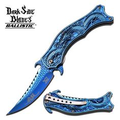 """8"""" BLUE DRAGON SPRING ASSISTED FOLDING KNIFE Blade pocket open switch"""