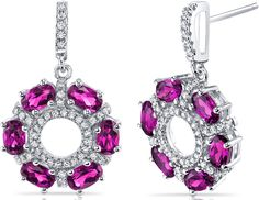 Ice 4 CT TW Lab-Created Ruby Sterling Silver Flower Drop Earrings