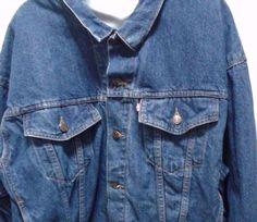 Vintage Levis Trucker Jean Jacket Blue Denim Men's Large  #Levis #JeanJacket