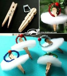 How to make adorable clothes pin ballerina ornaments step by step DIY tutorial i… - DIY Clothes Jeans Ideen Diy Christmas Ornaments, Cute Crafts, Holiday Crafts, Crafts For Kids, Christmas Decorations, Diy Crafts, Angel Ornaments, Ornament Tree, Nutcracker Crafts